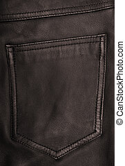 Pocket on the brown leather texture as background
