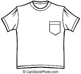 Pocket T-Shirt - Line art of a shirt in a basic black and...