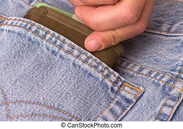 pocket theft in a jeans pocket