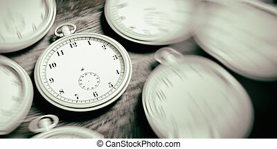 Pocket timeless watches background. 3d illustration