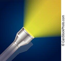 Pocket Torch Light Flashlight Yellow Shining . Vector illustration