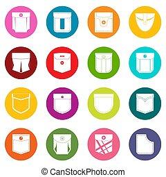Pocket types icons many colors set