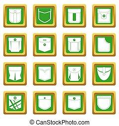 Pocket types icons set green