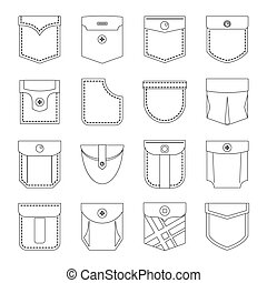 Pocket types icons set, outline style