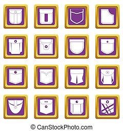 Pocket types icons set purple