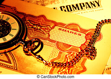 Market Timing - Pocket Watch and Stock Certificates - Market...