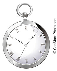 pocket watch - drawing of black pocket watch in a white...