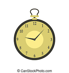 Pocket watch icon in flat style