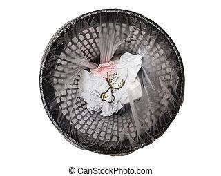 Pocket watch in refuse bin.