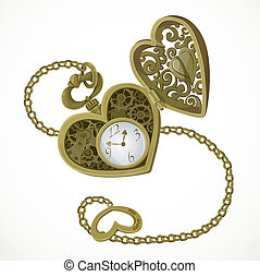 Pocket watch in the form of heart with an engraving I love...