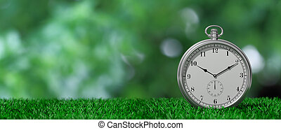 Pocket watch isolated on green grass and green abstract background, copy space. 3d illustration