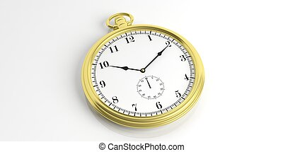 Pocket watch isolated on white background. 3d illustration
