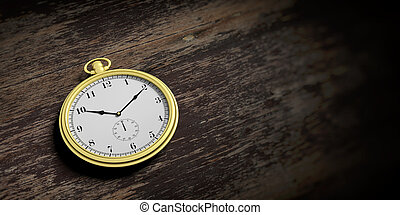 Pocket watch isolated on wooden background. 3d illustration