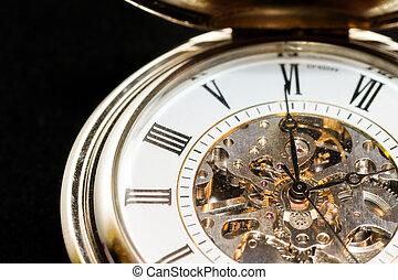 Macro image of a beautiful pocket watch