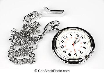 Pocket watch on white background - A silver, chrome pocket...