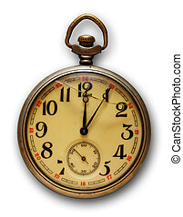 Pocket watch - Old pocket watch, isolated on white...