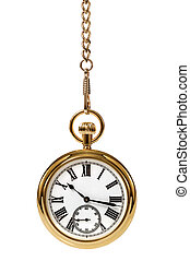 Pocket Watch - Gold pocket watch and chain, isolated on a...