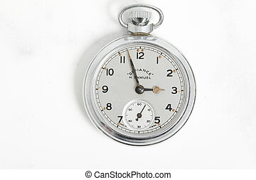 Pocket watch vintage clock . Silver antique item