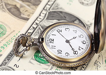 Pocket watch with financial assets. Isolated on a white ...