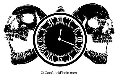 pocket watch with human skull, Time and death concept. illustration line art.