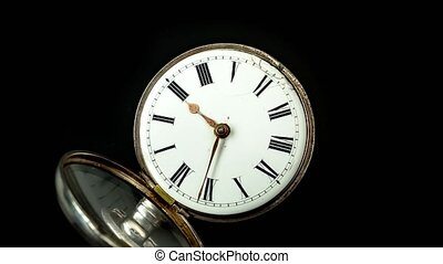 Pocket watch with vintage design closeup dial with arrows...
