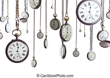 Pocket watches on chain isolated - A number of pocket...
