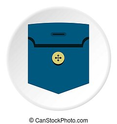 Pocket with button icon circle