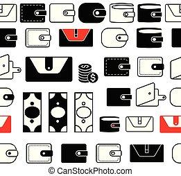 pocketbook, lijnen, seamless, portemonaie, vector, randjes, ...