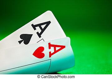 Aces - Pockets Aces with plenty of green background