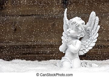 poco,  Ángel, de madera, nieve, Plano de fondo, blanco