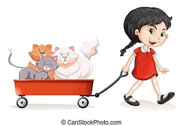 poco, él, carrito, gatos, tirar, niña
