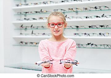 poco, óptica, niña, tienda, anteojos