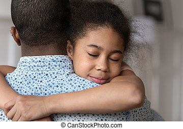 poco, abrazo, padre, actuación, feliz, cuidado, amor, niña