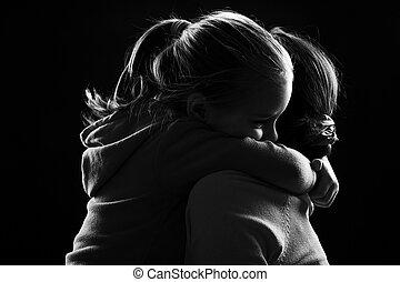 poco, abrazos, niña, ella, madre