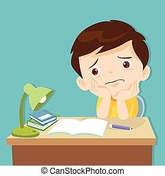 poco, aburrido, deberes, lindo, niño