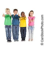 poco, actuación, arriba, pulgares, niños, feliz