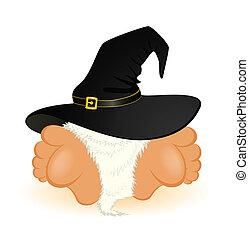 poco, agradable, gnomo, es, en, un, sombrero