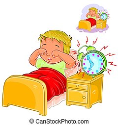 poco, arriba, mañana, vector, niño, woke