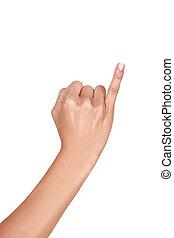 poco, arriba, tenencia, dedo