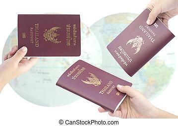 poco, asimiento, passport., mano