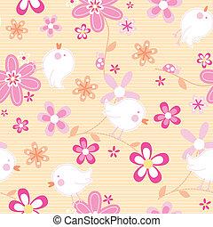 poco, aves, con, flores, seamless, patrón