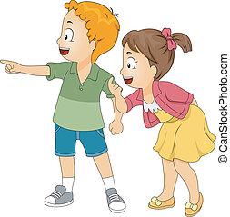 poco, bambini, dall'aspetto, e, indicare sinistra