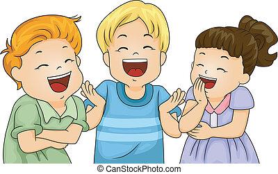 poco, bambini, ridere