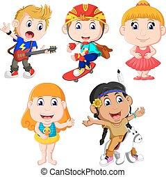 poco, bambini, set, collezione, felice