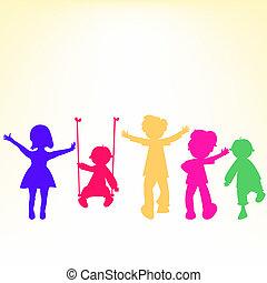poco, bambini, sopra, silhouette, retro, fondo, baluginante