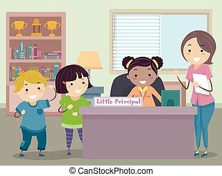 poco, bambini, stickman, insegnante, principale