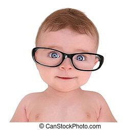 poco, bambino, bicchieri occhio indossando, bianco, fondo