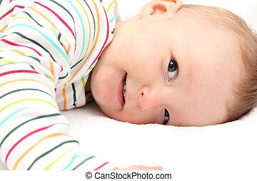 poco, bebé, sonriente
