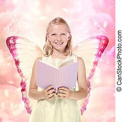 poco, biondo, lettura ragazza, uno, libro, -, fantasia