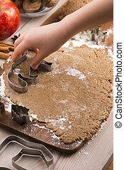 poco, biscotti, mani in alto, fabbricazione, chiudere, pan zenzero
